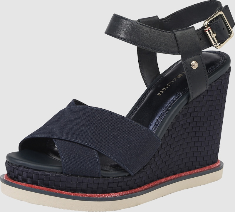 TOMMY HILFIGER | Wedge-Sandalette getragene 'SPORTY STRETCH CORPORATE' Schuhe Gut getragene Wedge-Sandalette Schuhe b6a66c