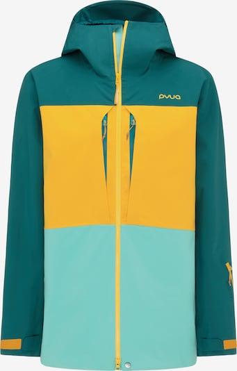 PYUA Outdoorjas in de kleur Turquoise / Geel / Groen, Productweergave