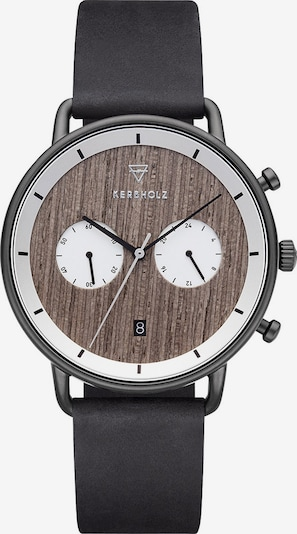 Kerbholz Uhr 'Herbert' in braun / basaltgrau / weiß, Produktansicht