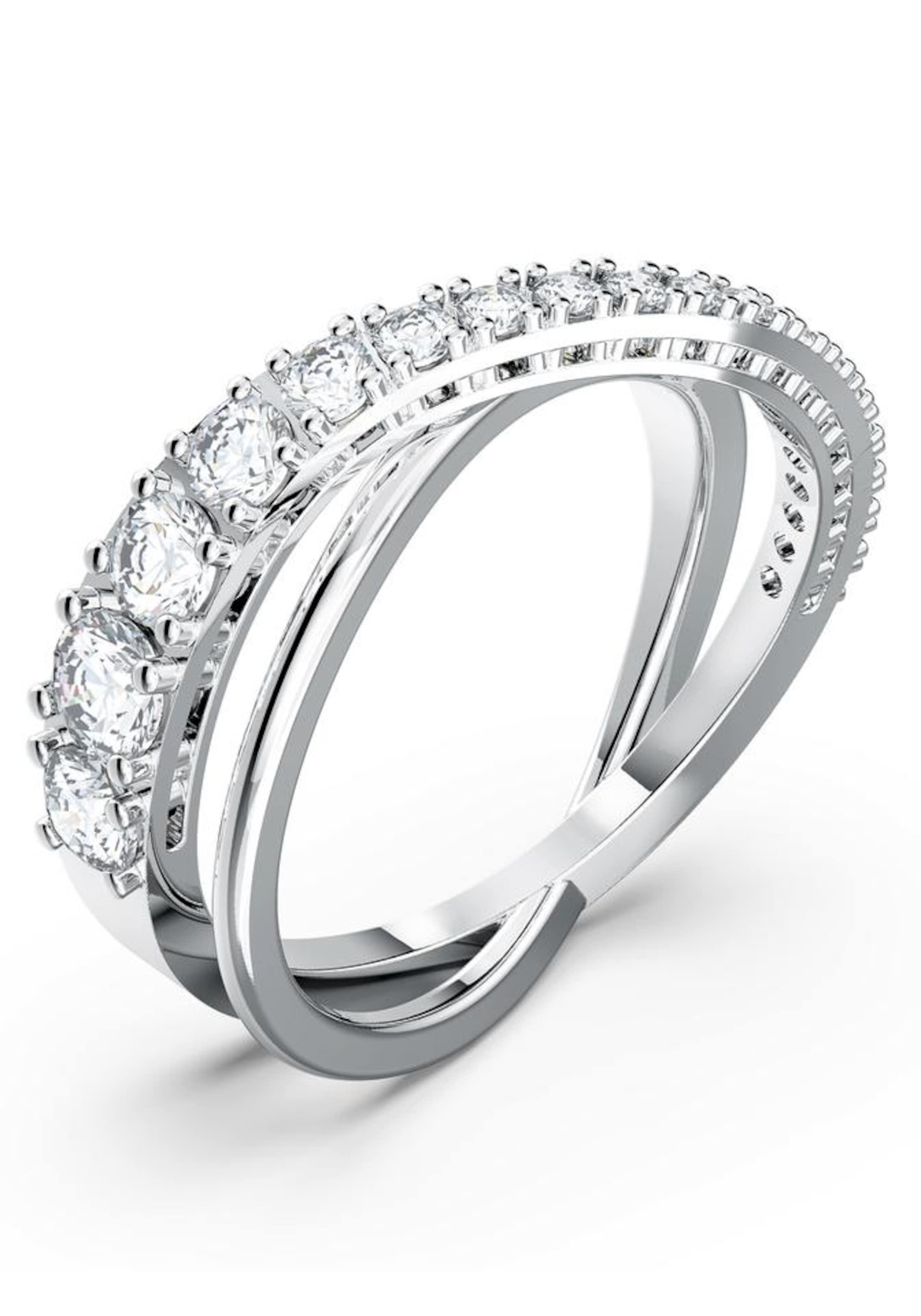 Swarovski Ring 'Twist Rows' i grå / silver