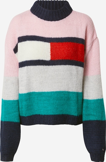 Tommy Jeans Pullover 'Bell' in nachtblau / jade / rosa / rot, Produktansicht