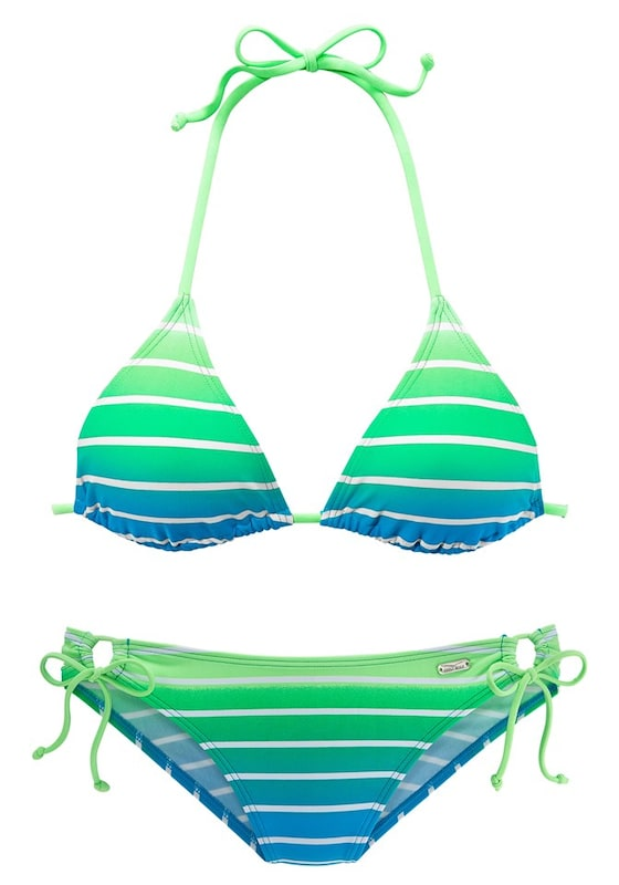 venice beach triangel bikini in himmelblau neongr n wei about you. Black Bedroom Furniture Sets. Home Design Ideas