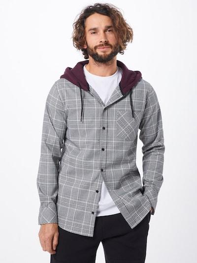 Dalykiniai marškiniai 'Hooded Glencheck Shirt' iš Urban Classics , spalva - antracito / vyno raudona spalva / balta: Vaizdas iš priekio