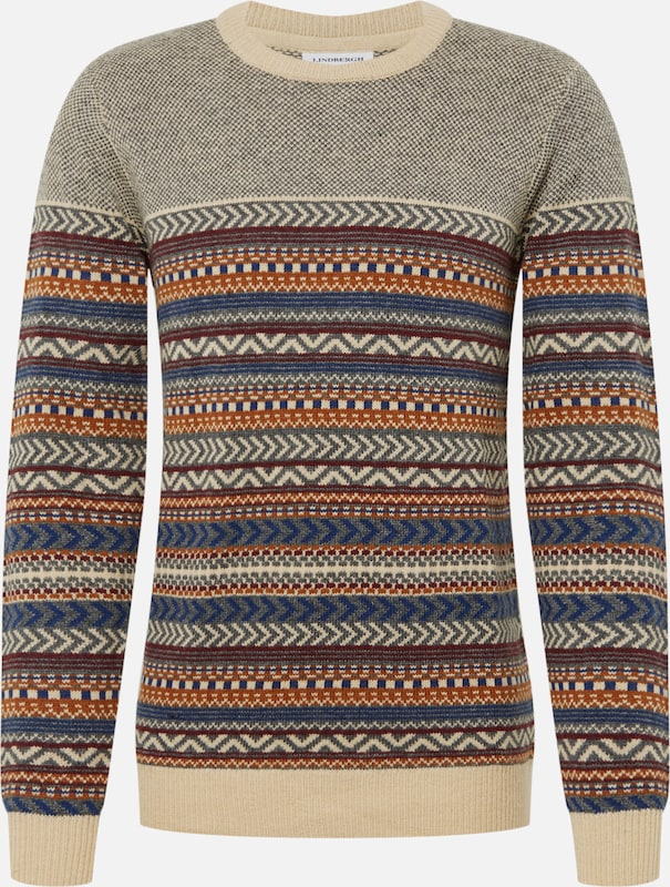 Lindbergh Pullover 'Jacquard knit' in beige: Frontalansicht