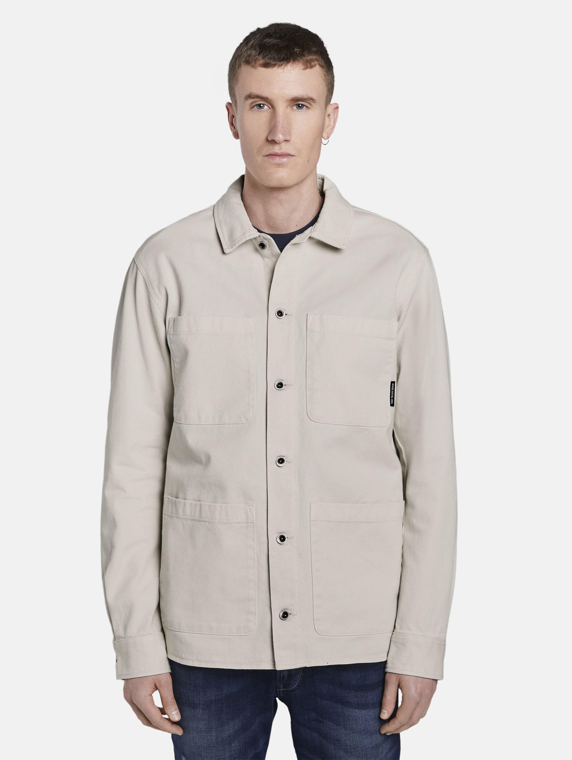 TOM TAILOR DENIM Jacke in beige / weiß Unifarben 1018176001