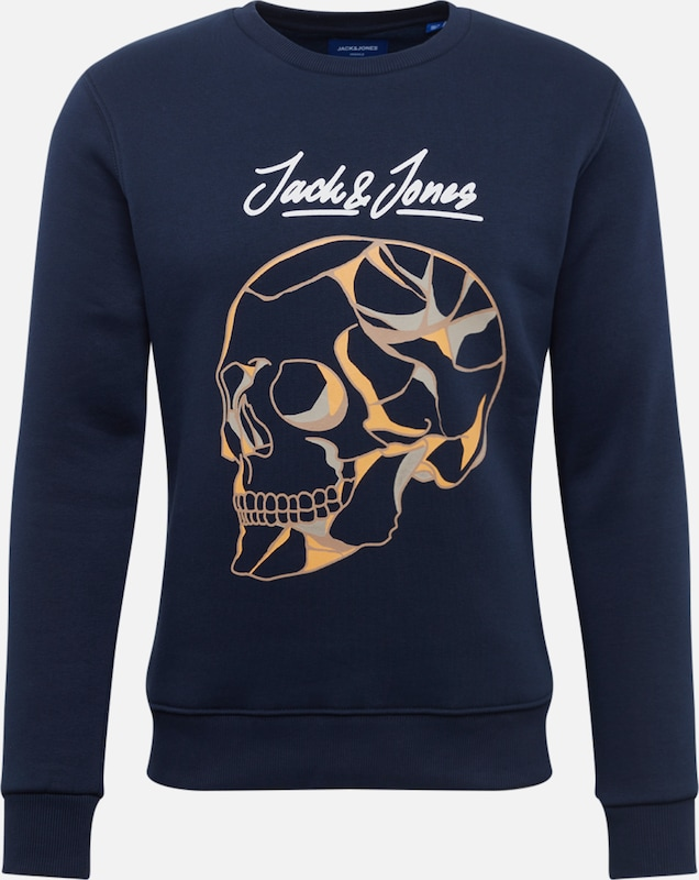JACK & JONES Sweatshirt 'JORBEYOND SWEAT CREW NECK' in navy / gelb / weiß: Frontalansicht