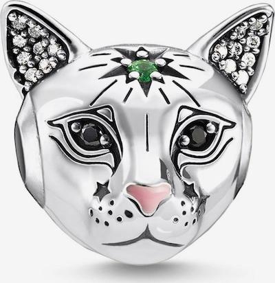Thomas Sabo Anhänger 'Katze' in smaragd / hellpink / schwarz / silber / transparent, Produktansicht