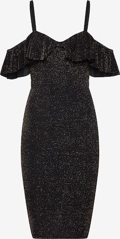 Boohoo Φόρεμα κοκτέιλ 'Glitter Ruffle ' σε μαύρο