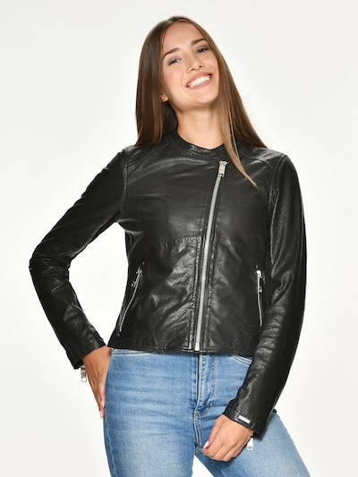 Maze Lederjacke 'Clovis' in schwarz: Frontalansicht