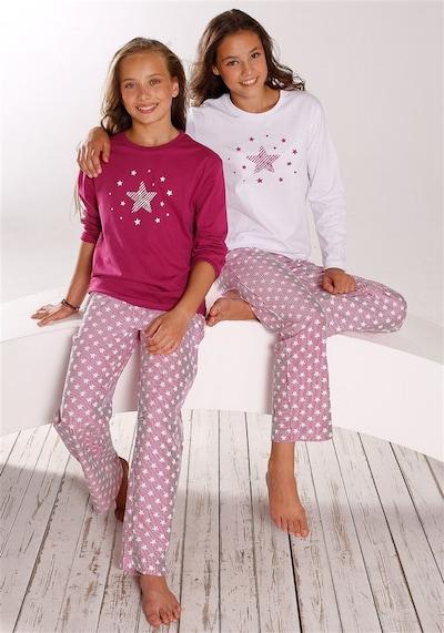 PETITE FLEUR Pyjamas in pink / weiß: Frontalansicht
