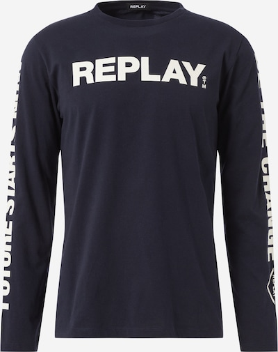 REPLAY T-Shirt en bleu foncé / blanc: Vue de face