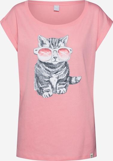 Iriedaily T-Shirt 'Iriecat' in dunkelgrau / hellpink / weiß, Produktansicht