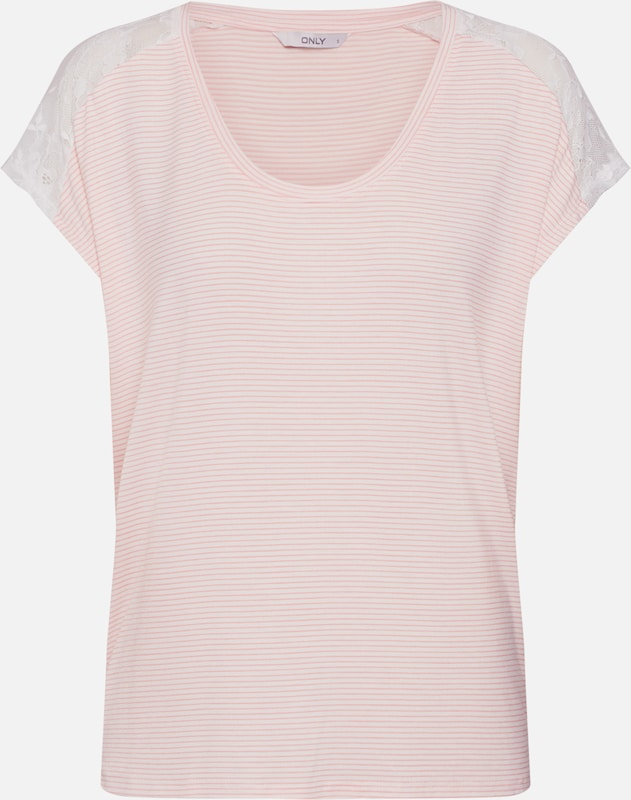ONLY Shirt 'ONLADELAIDE S/S LACE TOP JRS' in rosé / weiß, Produktansicht