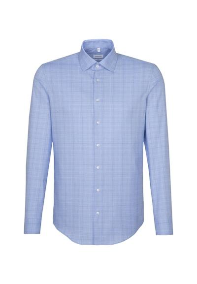 SEIDENSTICKER Hemd in rauchblau / braun / weiß: Frontalansicht