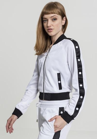 Urban Classics Button Up Track Jacket in schwarz / weiß: Frontalansicht