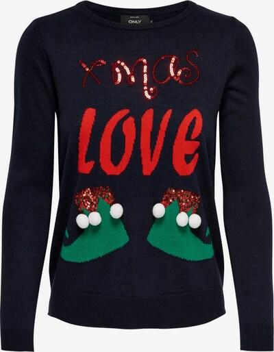 ONLY Pullover 'XMAS-LOVE' in nachtblau / grün / rot, Produktansicht