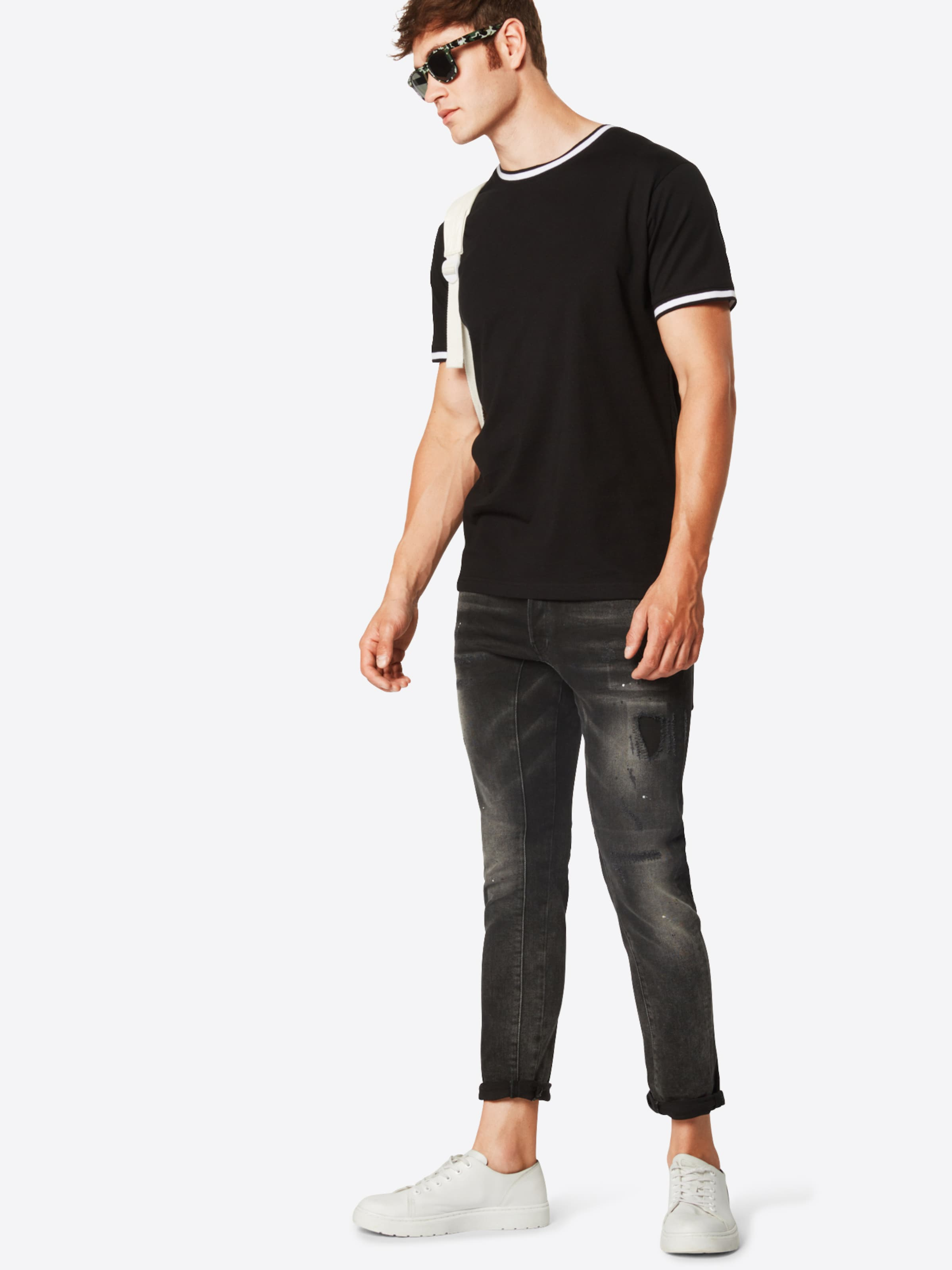 Tee' Urban Classics En T NoirBlanc 'collage shirt Pocket 4j5LRq3A