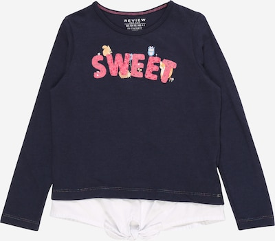 REVIEW FOR KIDS Shirt in nachtblau / pink / weiß: Frontalansicht