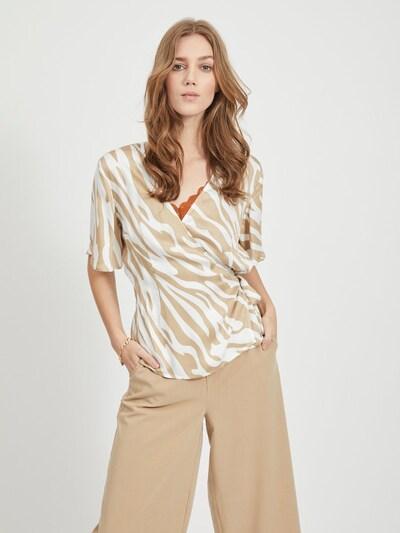 OBJECT Bluse in beige / weiß, Modelansicht