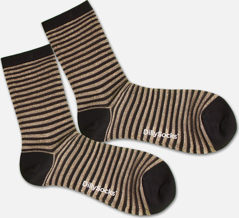 DillySocks Socken 'Sweet Lines' in gold / schwarz / transparent, Produktansicht