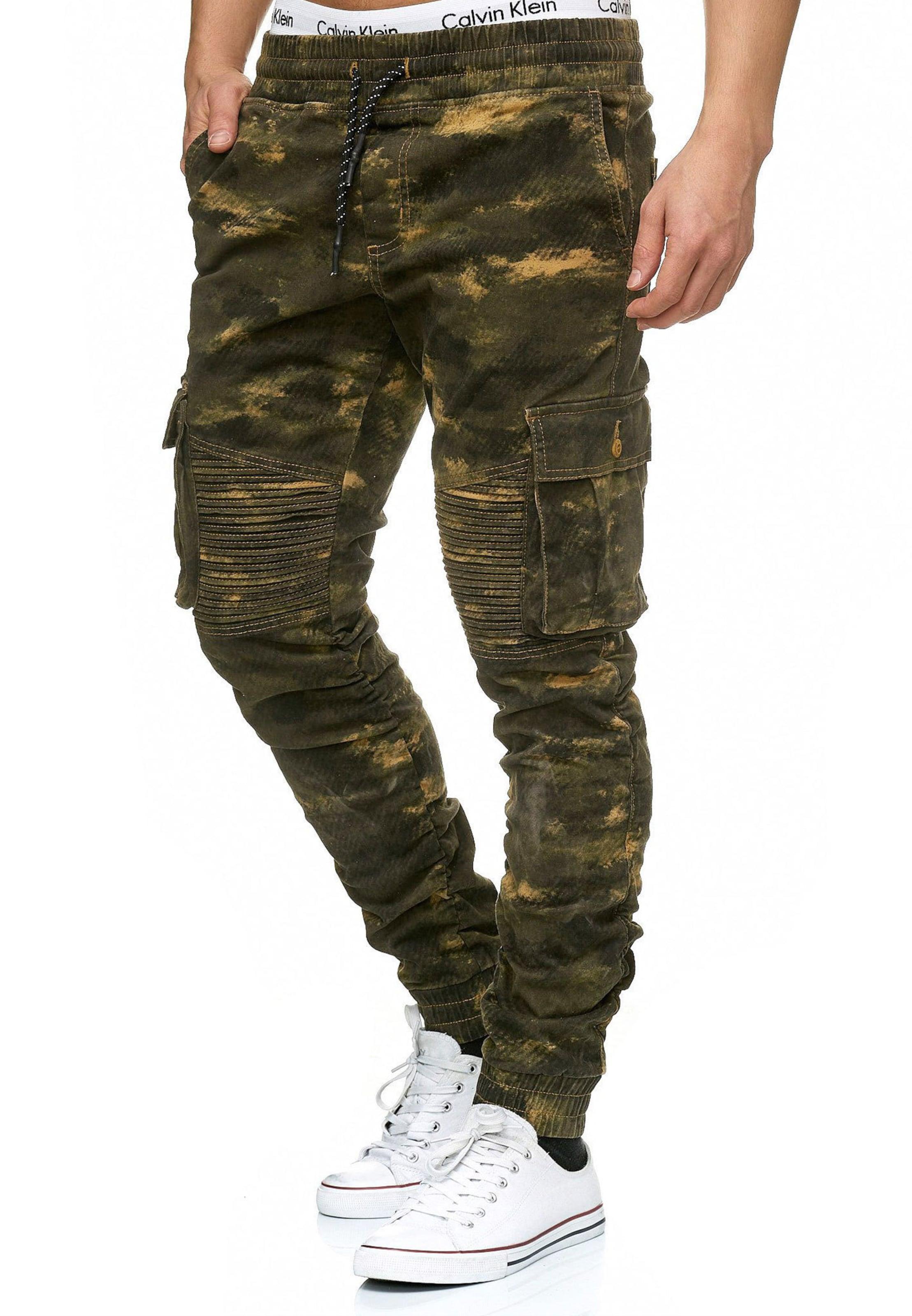 FoncéKaki Jaune Cargo Pantalon En Jeans Indicode 'louis' Vert IeH29YbWED