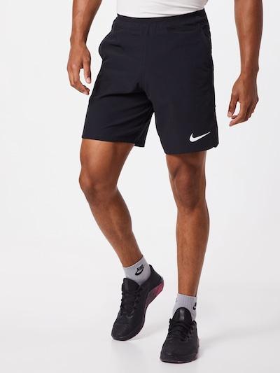 NIKE Športne hlače | črna / bela barva, Prikaz modela