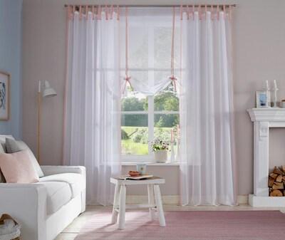 MY HOME Gardine in rosa / weiß, Produktansicht