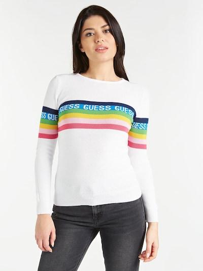 GUESS Pullover in mischfarben / weiß, Modelansicht