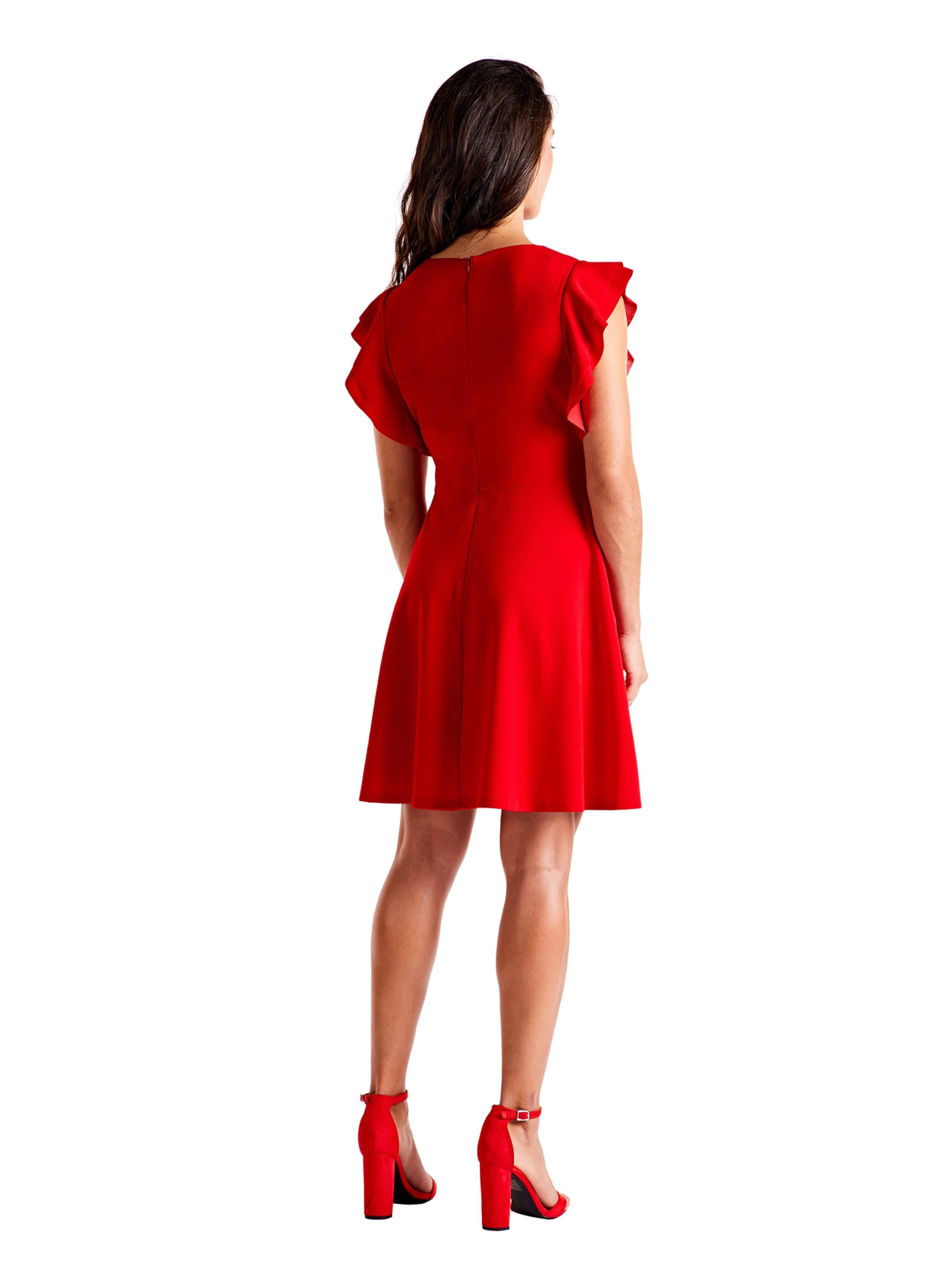 Ruffle Kleider Dress' V In London Rot Mela 'side Neck KlcF1J