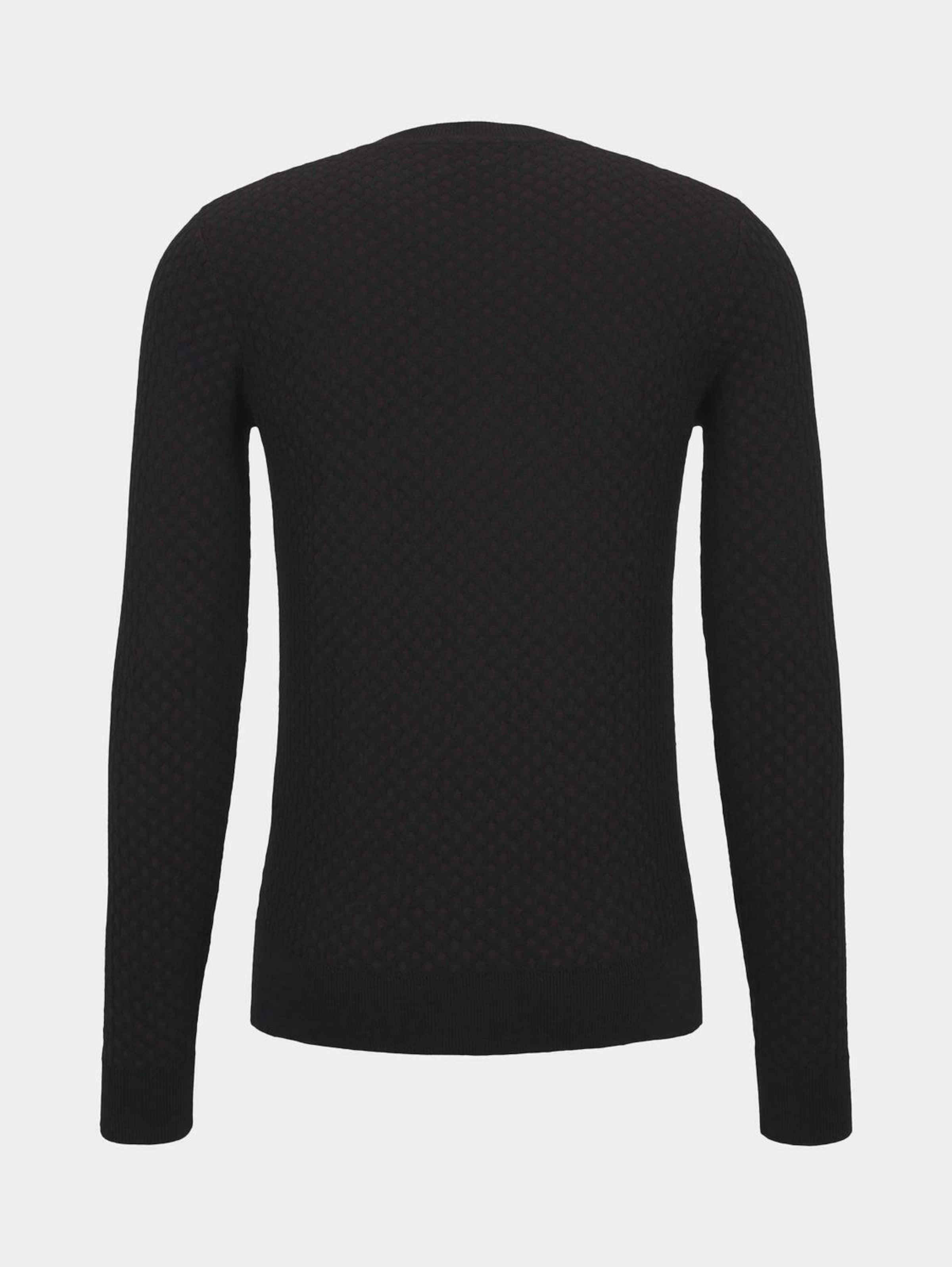 TOM TAILOR Pullover in schwarz Rundhals-Ausschnitt 1013847001