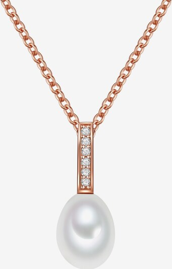 Valero Pearls Halskette in rosegold / perlweiß: Frontalansicht