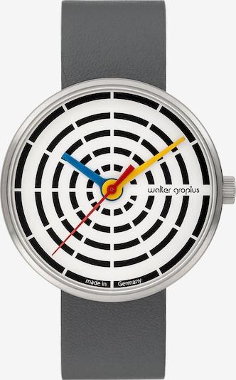 WALTER GROPIUS Uhr in dunkelgrau / schwarz / silber / weiß, Produktansicht