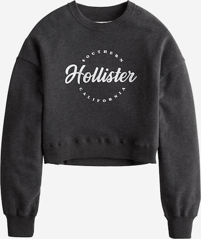 HOLLISTER Sweat-shirt en gris foncé / blanc, Vue avec produit