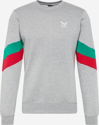 Iriedaily Sweatshirt 'Prime Crew' in graumeliert / mint / rot, Produktansicht
