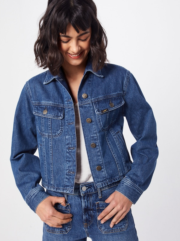 Lee Jacke 'CROPPED RIDER JACKET TIC' in blue denim: Frontalansicht