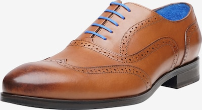 SHOEPASSION Businessschuhe durchgenäht 'No. 5621 BL' in blau / cognac, Produktansicht