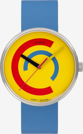 WALTER GROPIUS Uhr in himmelblau / hellblau / gelb / rot / silber, Produktansicht