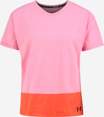 UNDER ARMOUR Functioneel shirt 'UA Charged Cotton SS' in de kleur Pink / Zwart, Productweergave
