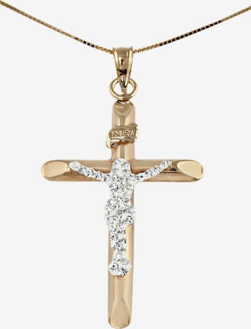 FIRETTI Halsschmuck: Halskette »Kreuz« in Venezianerkettengliederung mit Zirkonia in Gold