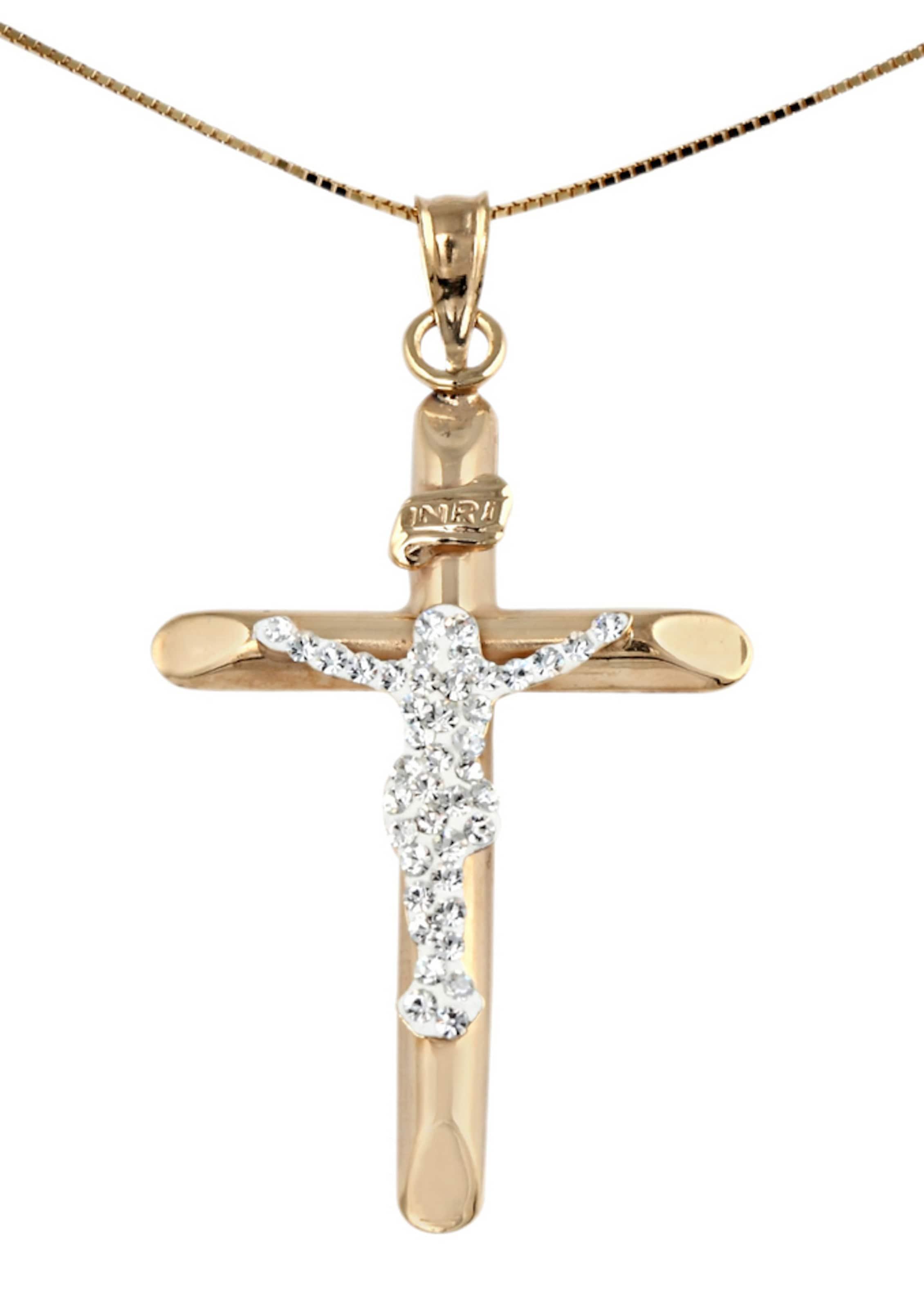 FIRETTI Halsschmuck: Halskette »Kreuz« in Venezianerkettengliederung mit Zirkonia Steckdose Kostengünstig oteiz0Pq