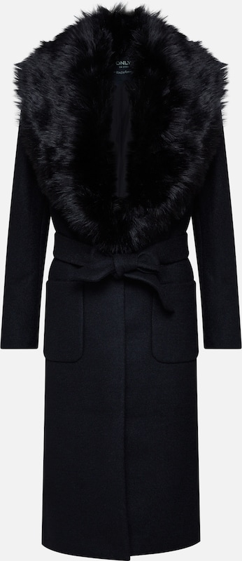 ONLY Mantel 'onlJOLIE LONG FUR WOOL COAT OTW' in schwarz: Frontalansicht