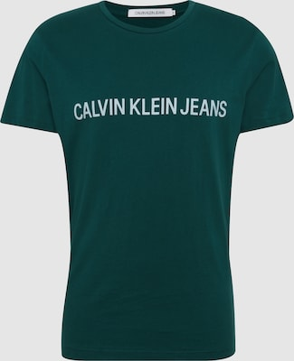 Calvin Klein Jeans Shirt 'INSTITUTIONAL SLIM LOGO TEE' in Donkergroen / Wit