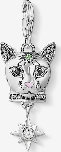 Thomas Sabo Charm-Einhänger 'Katze' in hellgrün / schwarz / silber, Produktansicht