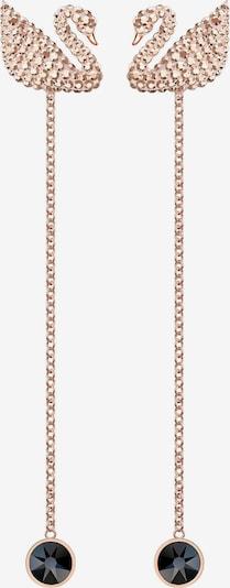 Swarovski Ohrstecker 'Iconic Swan' in rosé / schwarz, Produktansicht