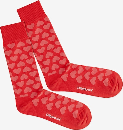 DillySocks Socken 'Heartful' in pink / rot, Produktansicht