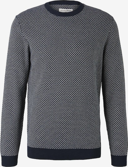 TOM TAILOR DENIM Pullover in dunkelblau / weiß, Produktansicht