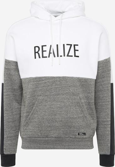 BLEND Sweat-shirt en gris chiné / noir / blanc, Vue avec produit
