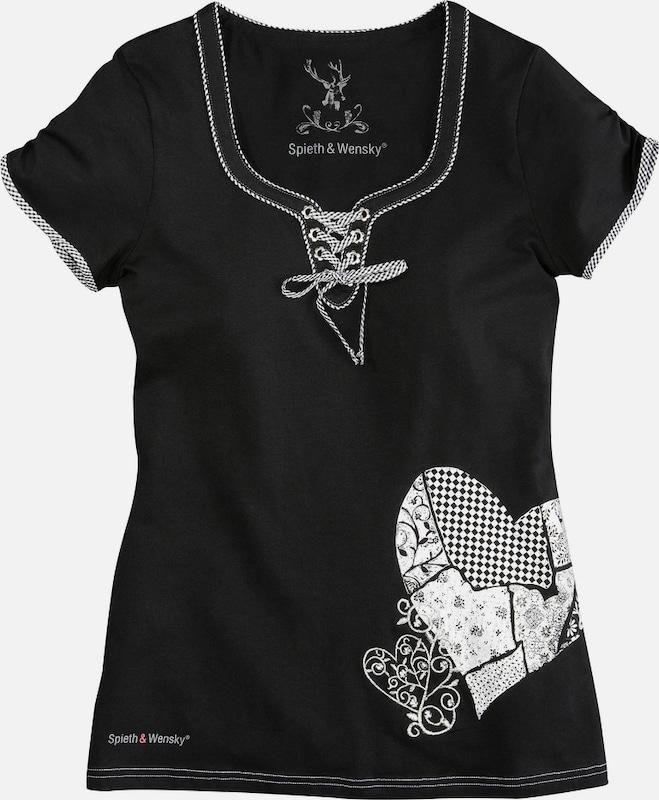 SPIETH & WENSKY Trachtenshirt mit Glitzersteinchen in schwarz  Neue Kleidung in dieser Saison