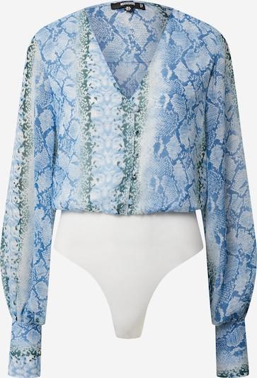 Missguided Shirtbody 'FLORAL CHIFFON BUTTON FRNT LONG SLV BODY' in blau / dunkelgrün / weiß, Produktansicht