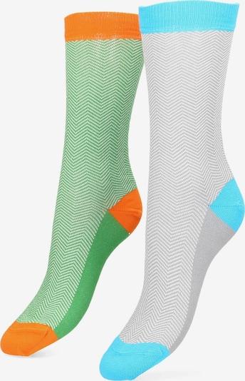 Libertad Socke 'Fishgrat' in neonblau / grau / grün / neonorange, Produktansicht